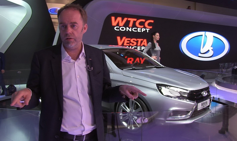 Design director LADA Steven Mattin introduces an appearance of the LADA Vesta concept vehicle at the MIAS-2014